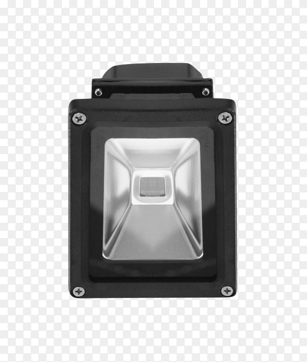 Front view of LED flood light isolated on transparent background PNG