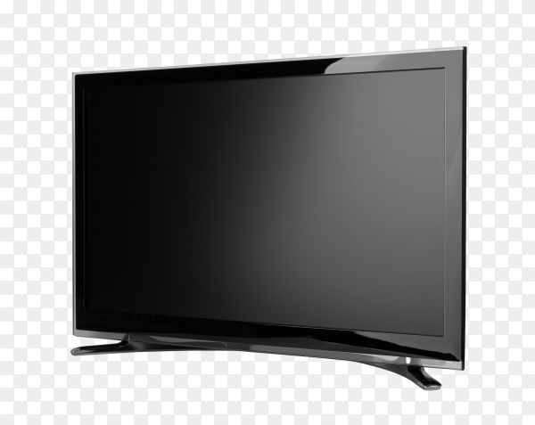 Frontal view of widescreen internet TV monitor isolated on transparent background PNG