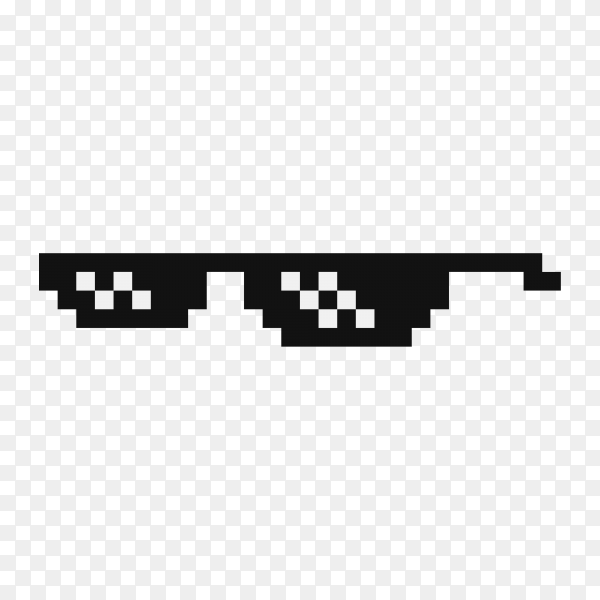 Funny pixelated boss sunglasses isolated on transparent background PNG