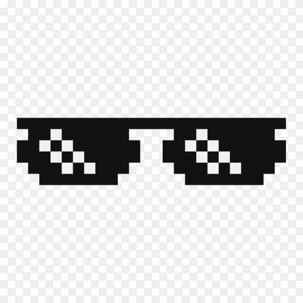 Funny pixelated boss sunglasses on transparent PNG