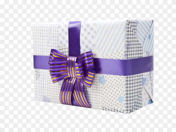 Gift box with purple ribbon on transparent background PNG