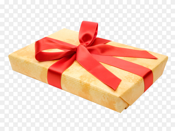 Gift box with red bow isolated on transparent background PNG