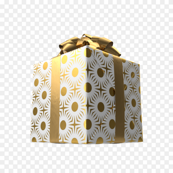 Gift or present box with Gold bow on transparent background PNG