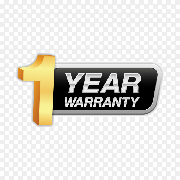 Gold badge warranty of 1 years isolated on transparent background PNG