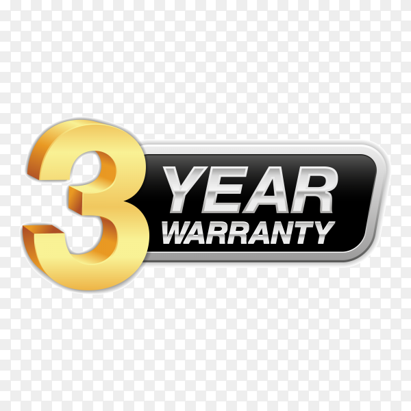Gold badge warranty of 3 years isolated on transparent background PNG