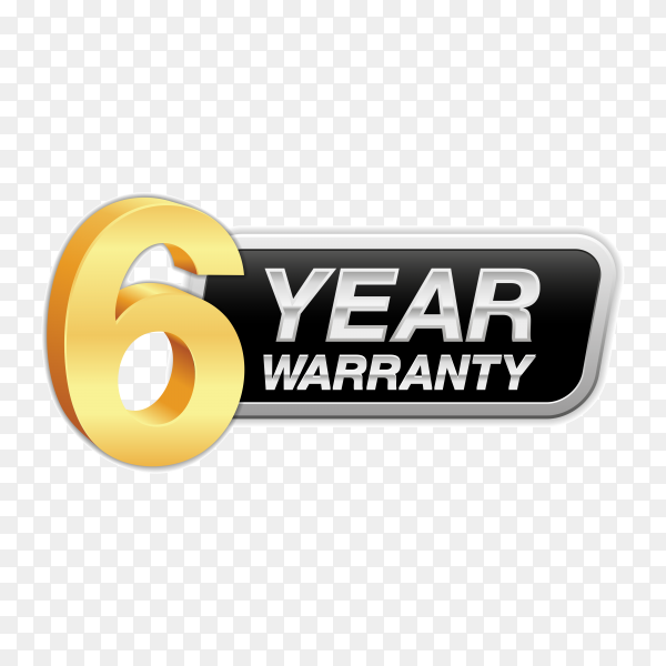 Gold badge warranty of 6 years isolated on transparent background PNG