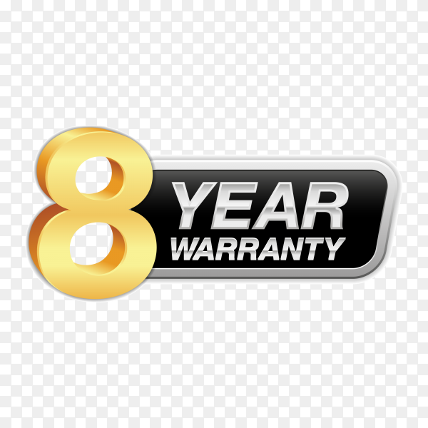 Gold badge warranty of 8 years isolated on transparent background PNG
