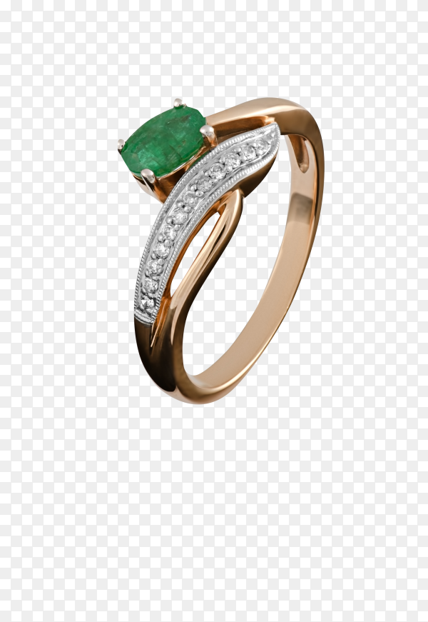 Gold ring with an emerald on transparent background PNG