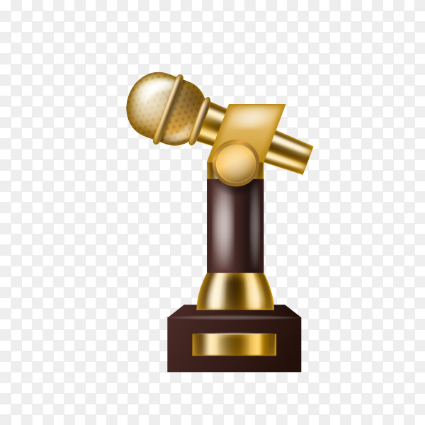Gold statuette medal award gold microphone for musical achievement with place for title on transparent background PNG