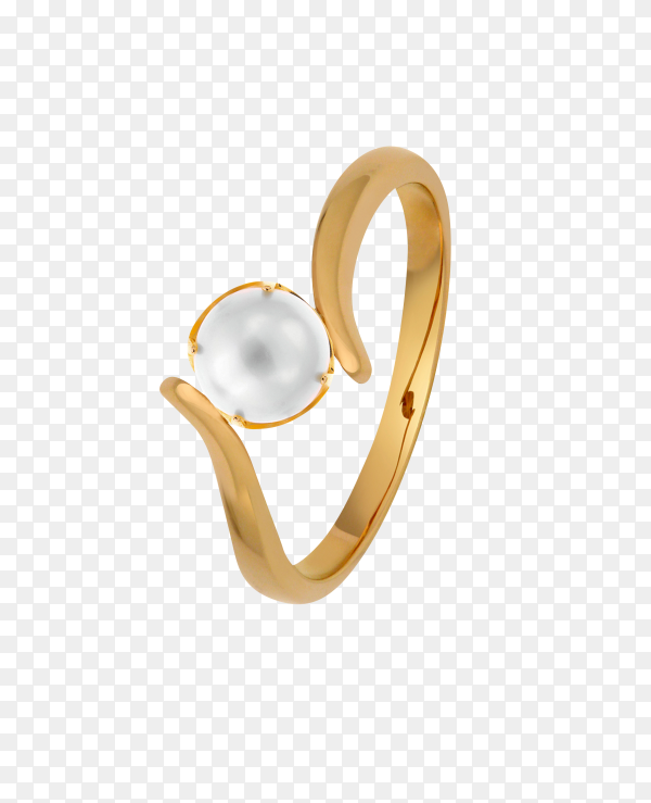 Gold wedding ring isolated on transparent background PNG