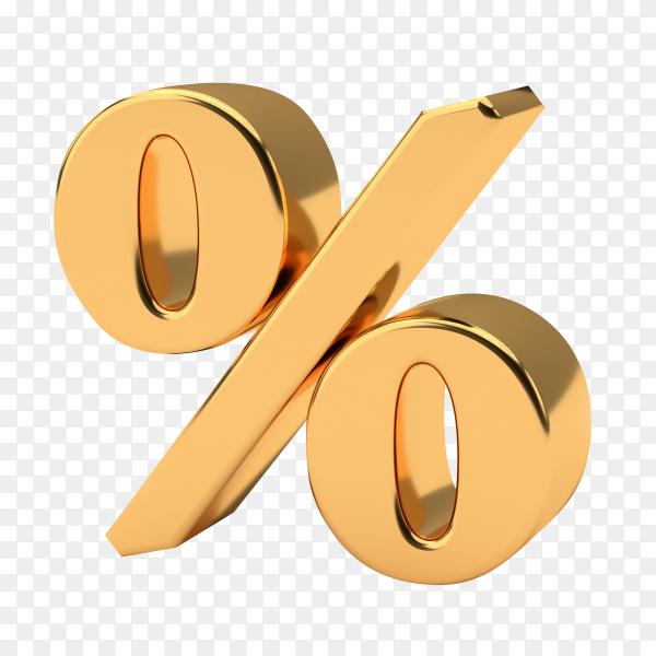 Golden percentage sign on transparent background PNG