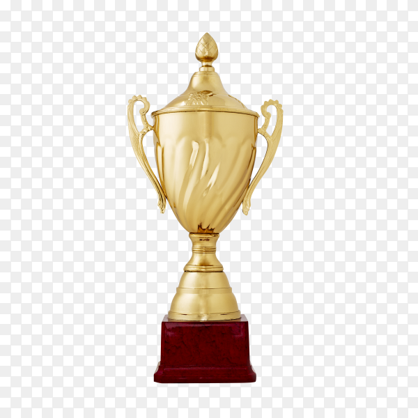 Golden shiny cup reward for the winner on transparent background  PNG