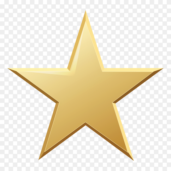 Golden star isolated on transparent background PNG
