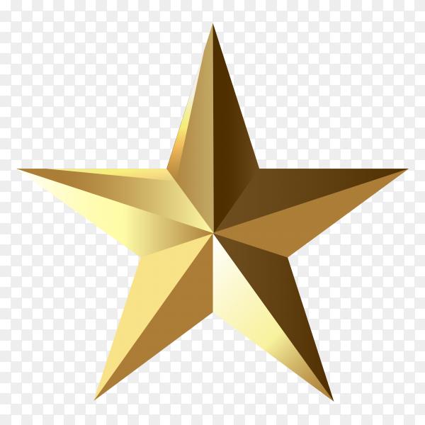 Golden star template on transparent background PNG