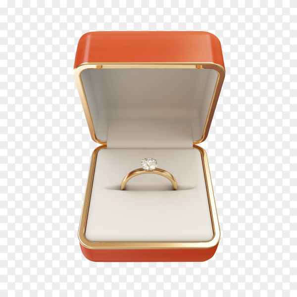 Golden wedding ring with diamond box on transparent background PNG