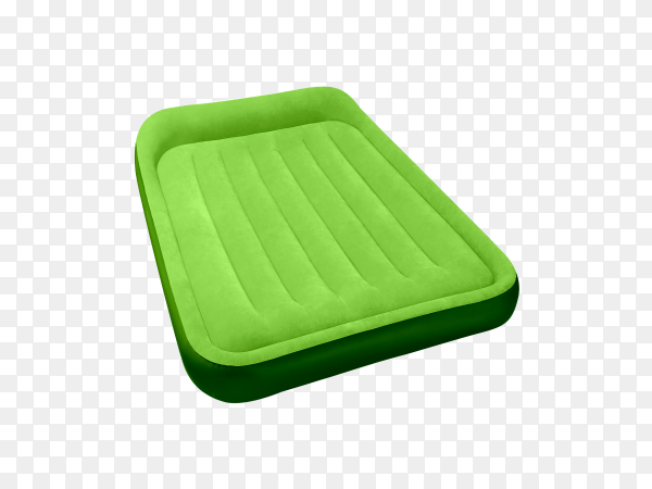 Green air mattress isolated on transparent background PNG