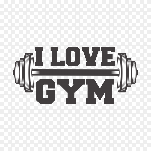 Gym logo design on transparent background PNG