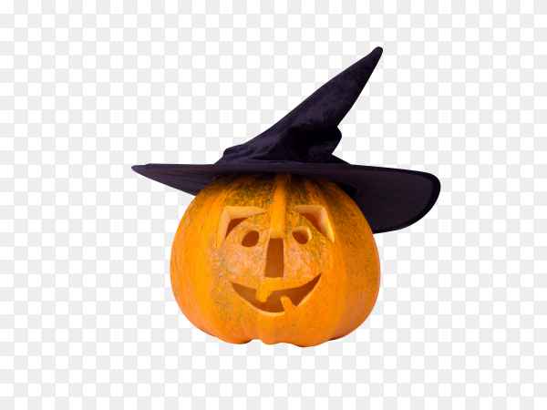 Halloween pumpkin, funny face in hat, isolated on transparent background PNG