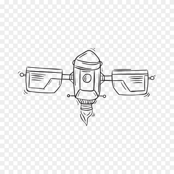 Hand Drawing rocket Space icon premium vector PNG