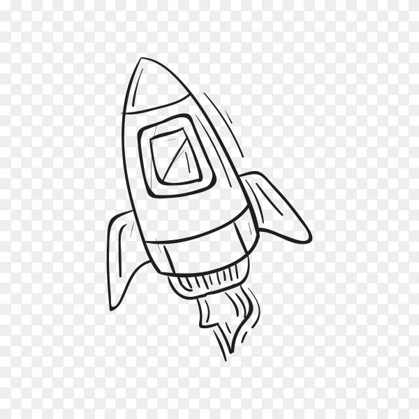 Hand drawing rocket on transparent background PNG