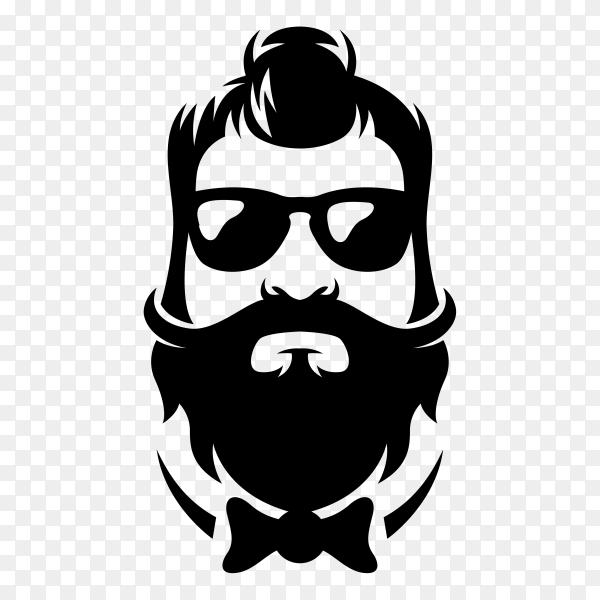 Hand drawn Beard barber logo design on transparent background PNG