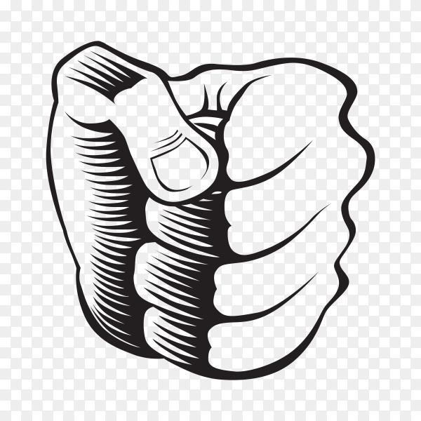 Hand drawn Hand fist on transparent background PNG