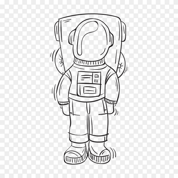 Hand drawn astronaut on transparent background PNG