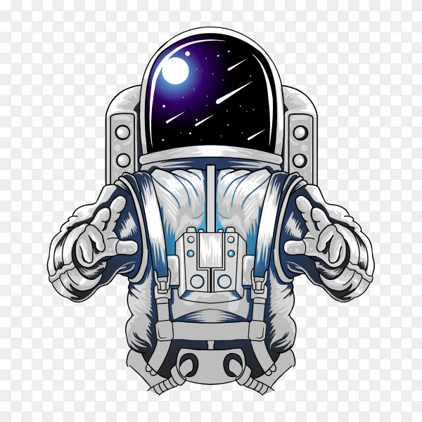 Hand drawn astronaut illustration on transparent background PNG