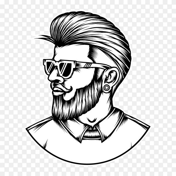 Hand drawn bearded men hairstyle on transparent background PNG