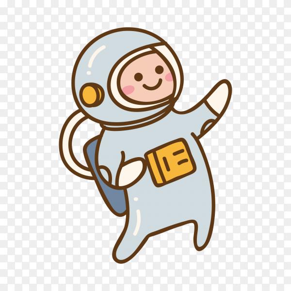 Hand drawn cartoon kawaii astronaut on transparent background PNG
