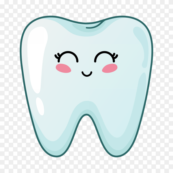 Hand drawn cartoon tooth on transparent background PNG