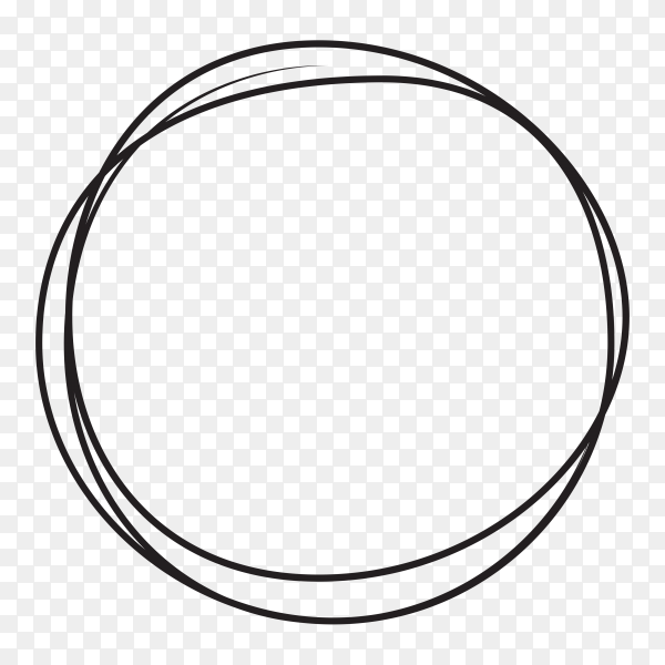 Hand drawn circle line sketch . art design round circular scribble isolated on transparent background PNG