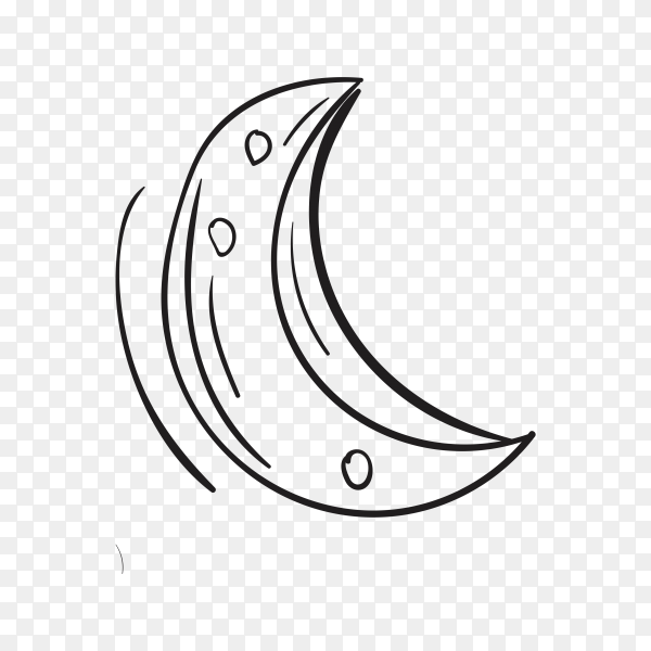 Hand drawn crescent moon on transparent background PNG