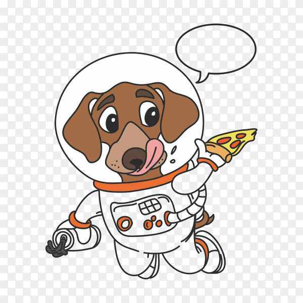 Hand drawn cute funny dog astronaut in space on transparent background PNG