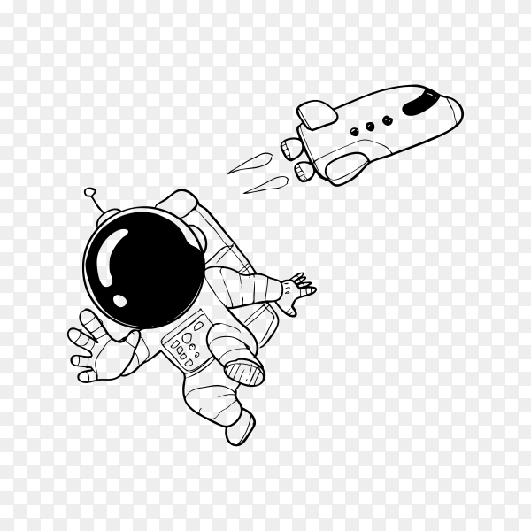 Hand drawn doodle cartoon astronaut on transparent background PNG