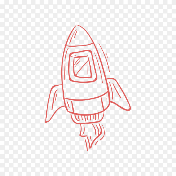 Hand drawn doodle rocket icon on transparent background PNG