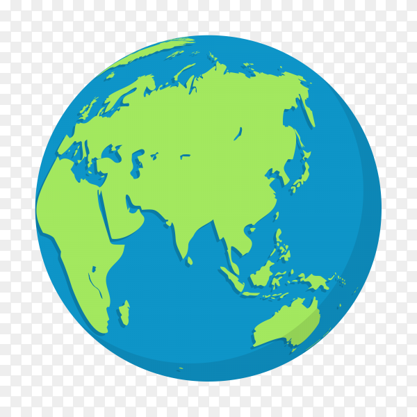 Hand drawn plant earth globes on transparent background PNG