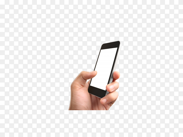 Hand holding a smartphone with blank screen on transparent background PNG