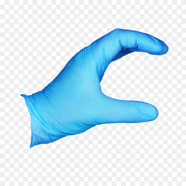 Hand in blue protective glove holding something on transparent background PNG