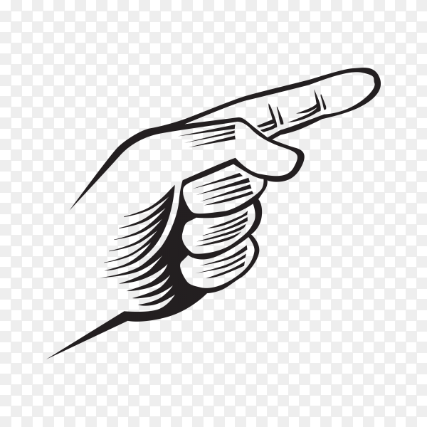 Hand with finger pointing illustration on transparent background PNG