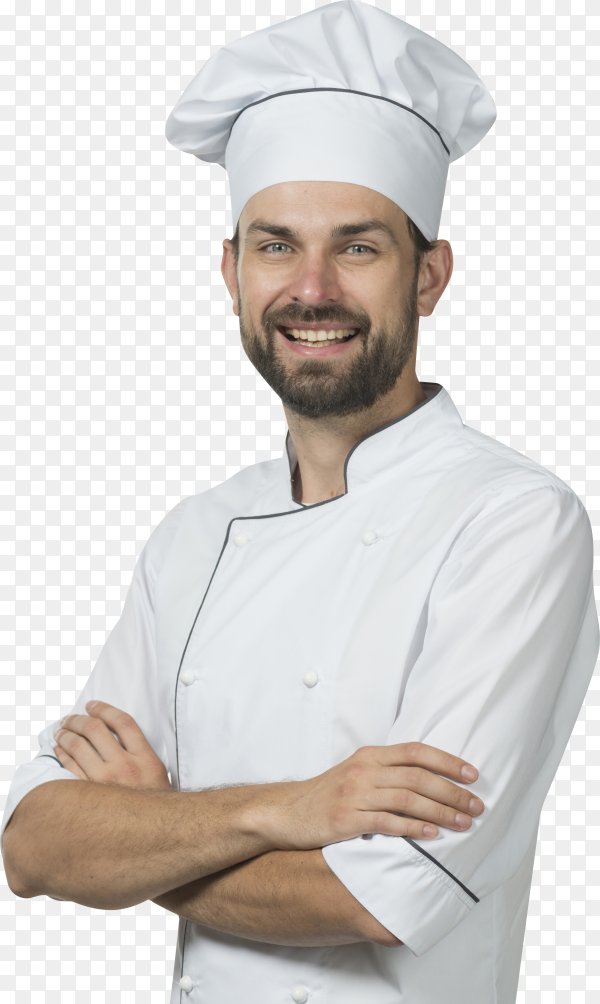 Happy male chef with his arms crossed against on transparent background PNG