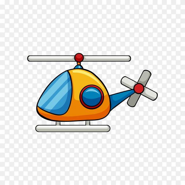 Helicopter toy flying on transparent background PNG