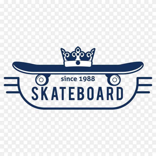 Hipster skateboard logo and badge on transparent background PNG