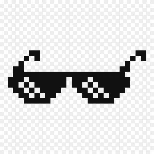 Illustration of Funny pixelated boss sunglasses on transparent background PNG