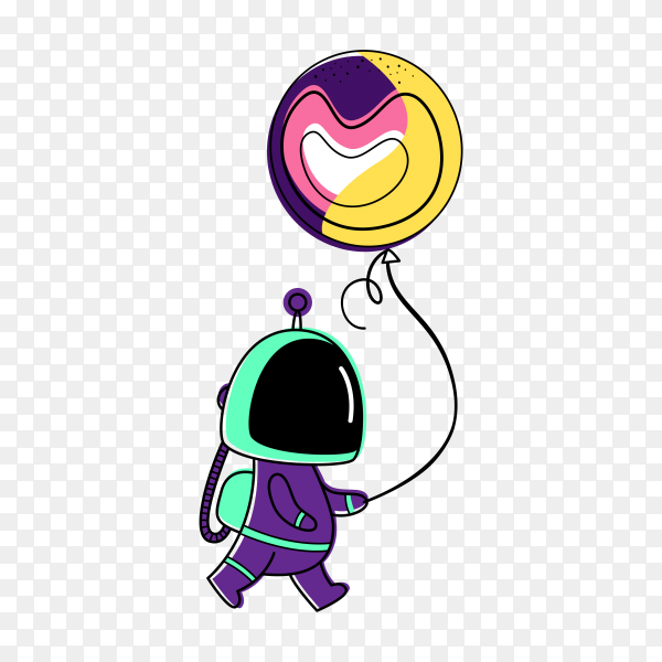 Illustration of an astronaut and a planet Balloon on transparent background PNG