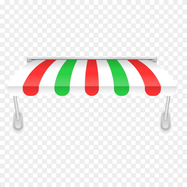 Illustration of awning in red and green color on transparent background PNG
