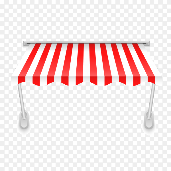 Illustration of awning in red and white color on transparent background PNG