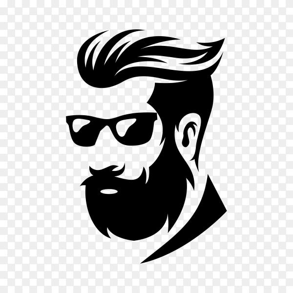 Illustration of hairstyle barber shop logo on transparent background PNG