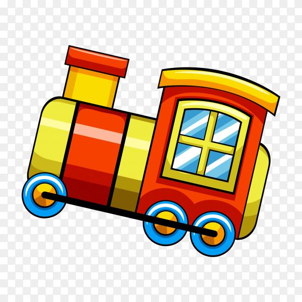 Illustration of train toy for kids on transparent background PNG