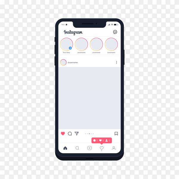 Instagram app in smartphone screen on transparent background PNG